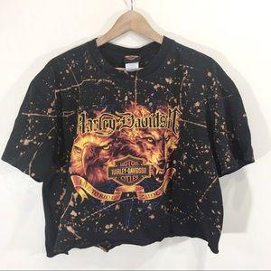 Harley Davidson Crop Bleached T-Shirt Sz XL Black